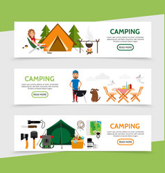 Flat outdoor recreation horizontal banners vector
