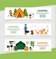 Flat outdoor recreation horizontal banners vector
