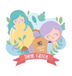 Girls shopping bag bulb plants nature environment vector