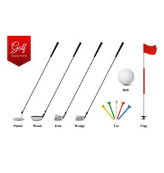 golf realistic set vector image