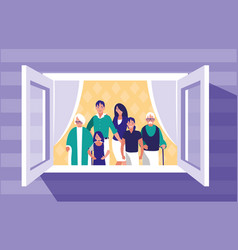 group of family members in the window vector image