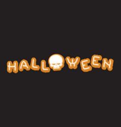 Halloween cookie lettering symbol typography of vector