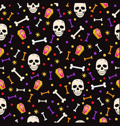 halloween skull seamless pattern on black vector image