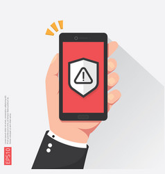 Hand holding phone with attention warning alert vector