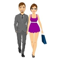 Happy blonde woman with her boyfriend vector