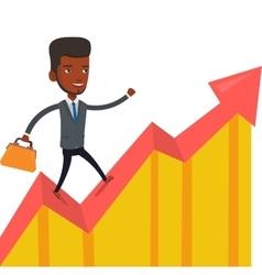 Happy businessman running on profit chart vector image