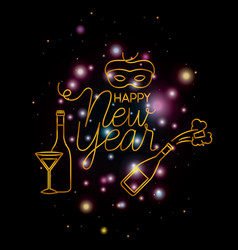 happy new year lettering with lights and icons vector image