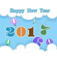 Happy new year with balloon and cloud vector