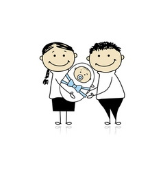 Happy parents with newborn baby vector image