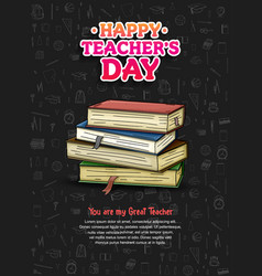 Happy teacher day with big book hand drawn vector