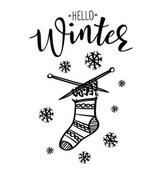 Hello winter poster template with sock vector