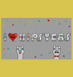 i love hipsters vintage card vector image