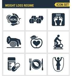 Icons set premium quality of weight loss regime vector