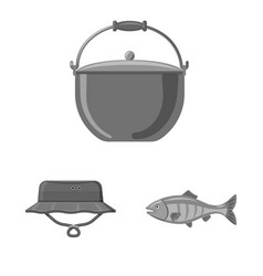 Isolated object of fish and fishing sign vector