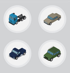 Isometric automobile set of armored auto suv and vector