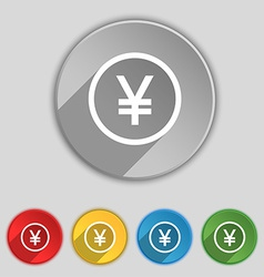 Japanese Yuan icon sign Symbol on five flat vector