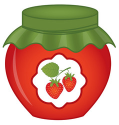 jar of strawberry jam vector image