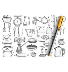 Kitchenware and utensils doodle set vector