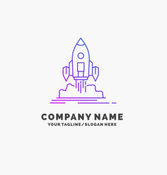 launch mission shuttle startup publish purple vector image