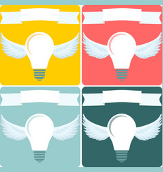 light bulb with wings idea concept vector image