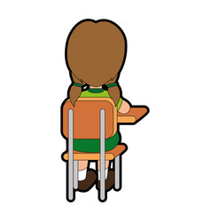 little student in school chair vector image