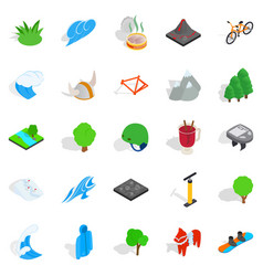 natural beauty icons set isometric style vector image