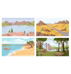 nature set mountains lake seashore jungle desert vector image