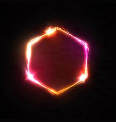 neon light hexagon shape banner on dark brick wall vector image
