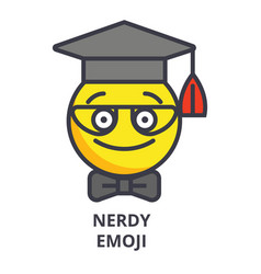 Nerdy student emoji line icon sign vector
