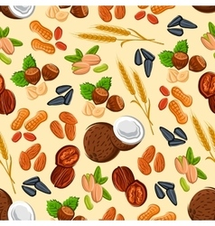 Nuts wheat and seeds seamless pattern vector