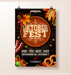 Oktoberfest poster with beer vector