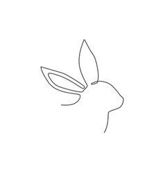 one single line drawing cute rabbit head for vector image