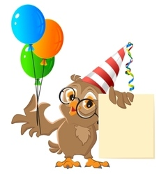 Owl holding balloons Carnival vector image