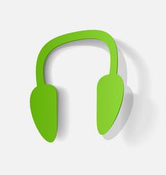 Paper clipped sticker wireless headphones vector