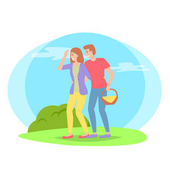 people in nature picnic man carries basket of vector image