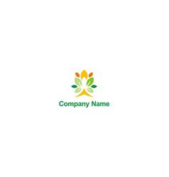 people leaf vegetarian beauty company logo vector image