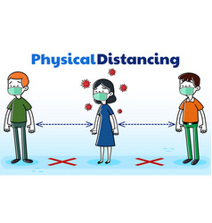 People queue physical distancing vector