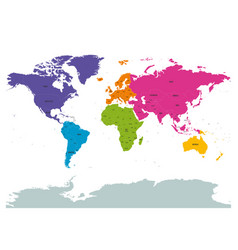 Political world colored continents with country vector