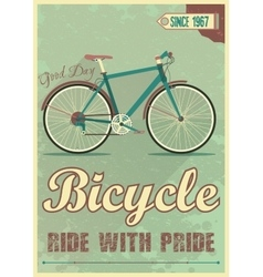 Poster with the bike in grunge style vector