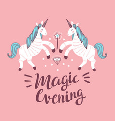 Poster with unicorns on the pink background vector