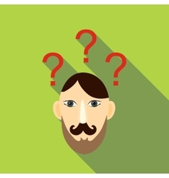 Question brain icon flat style vector image