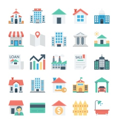 Real Estate Colored Icons 1 vector image