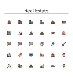 Real estate colored line icons vector