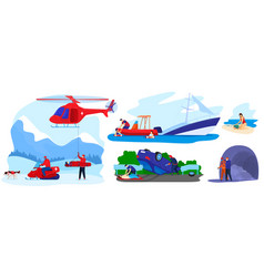 Rescue disaster flat set vector