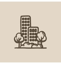 Residential building with trees sketch icon vector image
