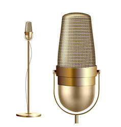 Retro golden microphone with stand vector
