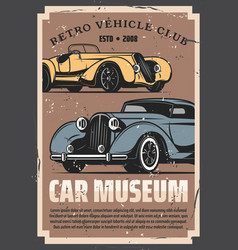 retro vehicles club vintage rarity car museum vector image