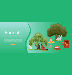 Rodents inscription on bright banner set cute vector