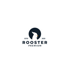 Rooster head silhouette on circle logo design vector