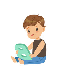 Sad little boy sitting on the floor and trying vector